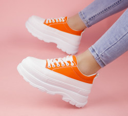 Pantofi sport alb/portacaliu cod:MM08