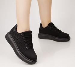 Pantofi sport dama din material textil negri COD:99-8
