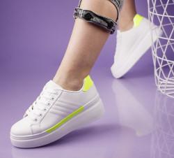 Pantofi sport alb/verde cod:LL1781V