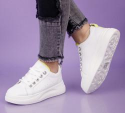 Pantofi sport alb/galben cod:LLQ203G