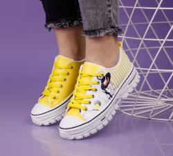 Pantofi sport alb/galben cod:T1005
