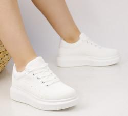 Pantofi sport dama din material textil albi COD:99-9