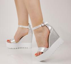 Sandale dama cu platforma argintii COD:TR395