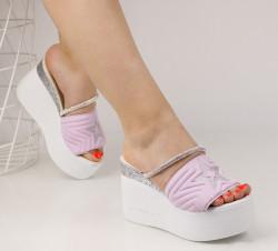 Papuci dama cu platforma mov COD:TR296