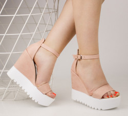 Sandale dama cu platforma roz pudra COD:TR328
