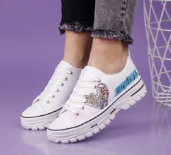 Pantofi sport albi cod:T1001