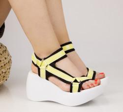 Sandale dama cu platforma galbene COD:TR345
