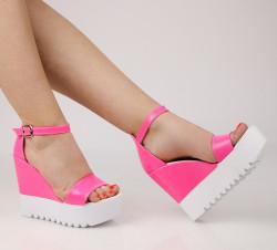Sandale dama cu platforma roz COD:TR392