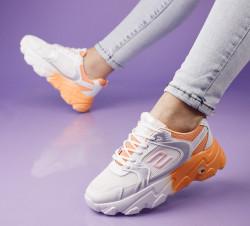 Pantofi sport alb/portocaliu cod:5506