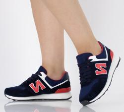Pantofi sport bleumarin din imitatie piele intoarsa