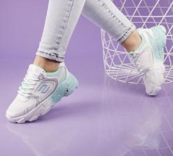 Pantofi sport alb/verde cod:5506V