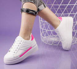 Pantofi sport alb/roz cod:LL1781