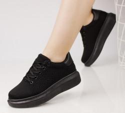 Pantofi sport dama din material textil negrii COD:99-8