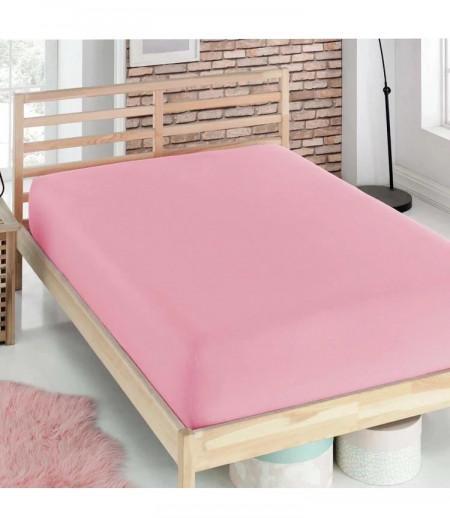 Husa de pat cu Elastic Bumbac Jersey,160x200 ,Roz