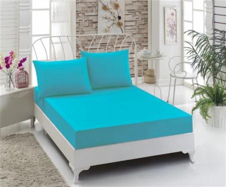 Husa de pat cu elastic, Bumbac , 160x200+ 2 fete de perne ,Turcoaz