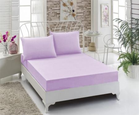 Husa de pat cu elastic, Bumbac , 160x200+ 2 fete de perne ,Lila