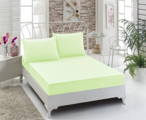 Husa de pat cu elastic, Bumbac , 160x200+ 2 fete de perne ,Verde
