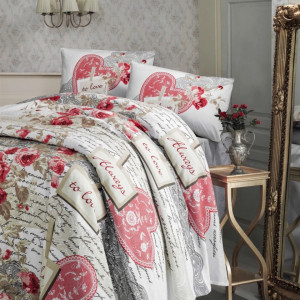 Lenjerie de Pat Bumbac Pike, 2 Persoane,Serenay Red