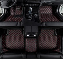Covorase auto LUX - PIELE dedicate Volvo XC90 2002-2014 ( cusatura rosie )