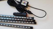 Kit 4 x Benzi LED RGB 22cm Multicolor pentru interior 12V cu TELECOMANDA 22cm