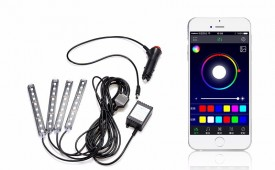 Kit interior 4 benzi 12.5cm LED RGB cu aplicatie telefon control BLUETOOTH