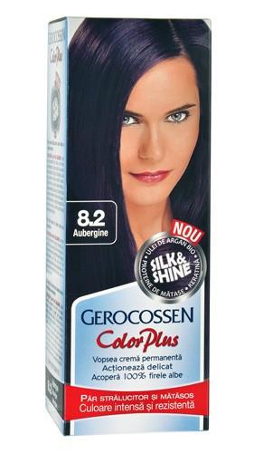 Color plus vopsea pentru par 8.2 aubergine, 50 ml vopsea de par + 50 ml oxidant, Gerocossen