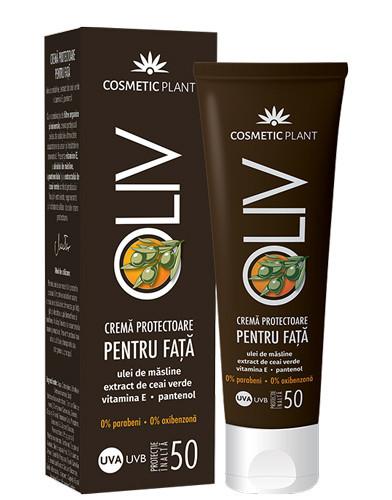 Crema protectoare fata cu ulei de masline, ceai verde&vit.E SPF50, 50ml, Cosmetic Plant