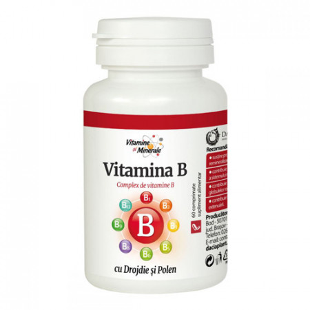 Vitamina B cu drojdie&polen, 60cps, Dacia Plant