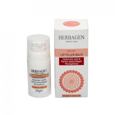 Balsam de buze filler instant cu microsfere de acid hialuronic&atellocolagen, 30g, Herbagen