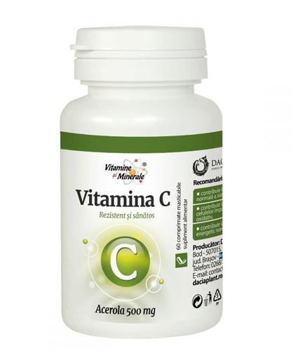 Vitamina C cu Acerola, 60cps masticabile, Dacia Plant