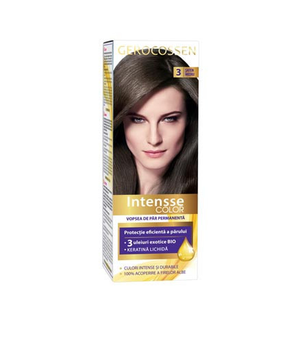 Vopsea de par permanenta Intensse Color 3 Saten Mediu, 50 ml, Gerocossen