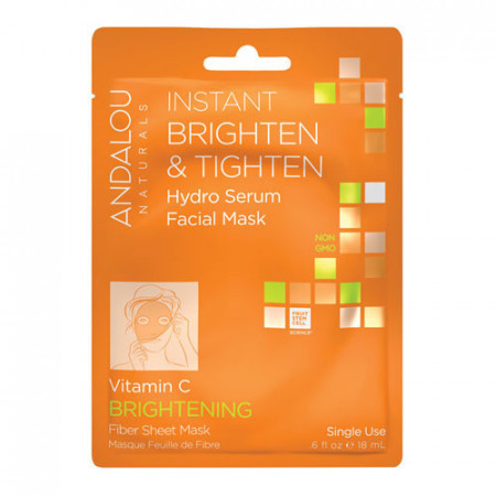 Instant Brighten & Tighten Hydro Serum Facial Mask, 18ml, Andalou