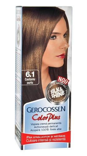 Color plus vopsea pentru par 6.1. castaniu auriu, 50 ml vopsea de par + 50 ml oxidant, Gerocossen