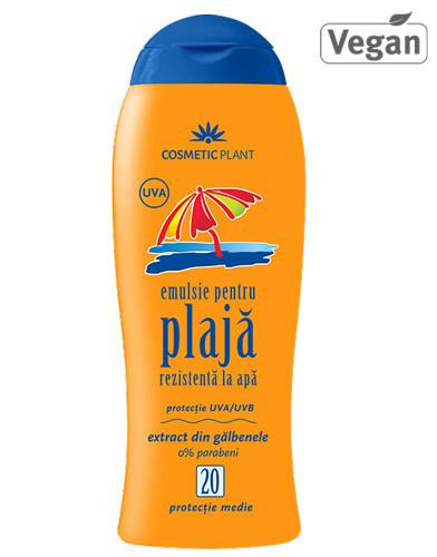 Emulsie plajă rezistentă la apă SPF20, 200ml, Cosmetic Plant Plaja