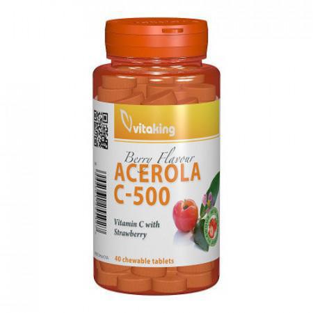 Vitamina C 500 mg cu acerola, gust de capsuni, 40cps masticabile, Vitaking