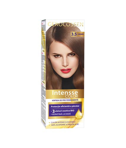 Vopsea de par permanenta Intensse Color 3.5 Caramel, 50 ml, Gerocossen