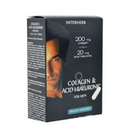 Colagen & Acid hialuronic pt. barbati, 30cps, Interherb