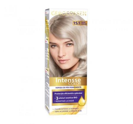 Vopsea de par permanenta Intensse Color 15.1 Blond Cenusiu, 50 ml, Gerocossen