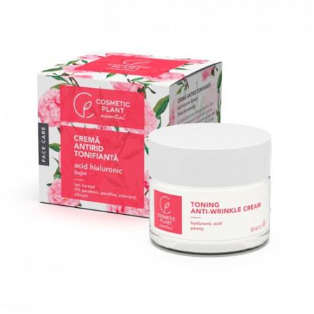 Crema antirid tonifianta acid hialuronic & extract de bujor, 50ml, Cosmetic Plant