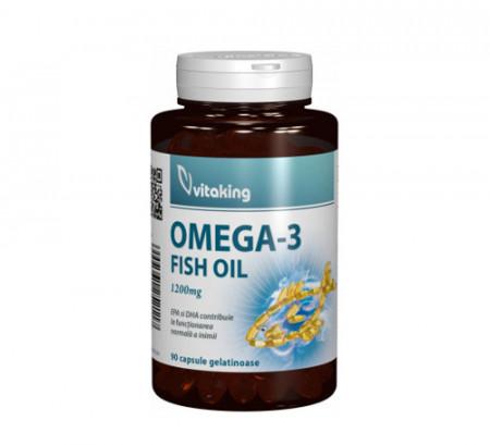 Omega 3 Forte - ulei de peste natural 1200mg, 90cps, Vitaking