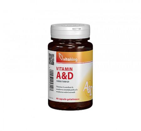 Vitamina A si D (10.000/ 1.000 UI), 60cps gelatinoase, Vitaking