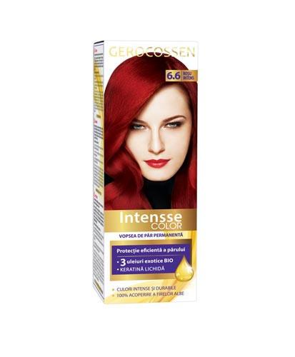 Vopsea de par permanenta Intensse Color 6.6 Rosu Intens, 50 ml, Gerocossen