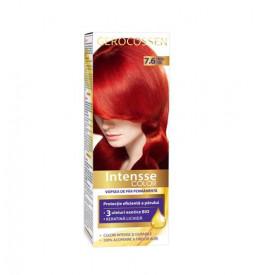 Vopsea de par permanenta Intensse Color 7.6 Rosu Foc, 50 ml, Gerocossen