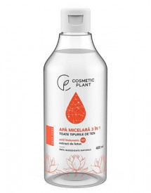 Apa micelara 3 în 1 cu acid hialuronic 4D & extract de lotus, 400ml, Cosmetic Plant