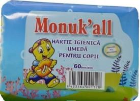 Hartie igienica umeda pentru copii, Monuk'all, 60buc, FLM Group