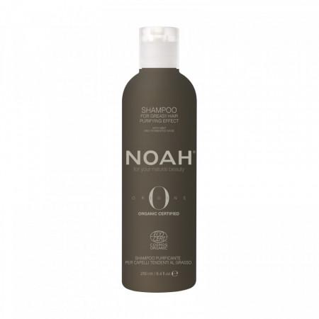 Sampon BIO purificator cu ulei esential de menta pentru par si scalp gras, Noah, 250 ml