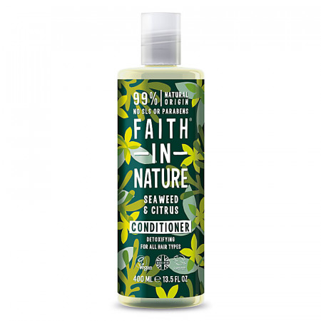 Balsam natural detoxifiant cu alge marine si citrice pentru toate tipurile de par, Faith in Nature, 400 ml
