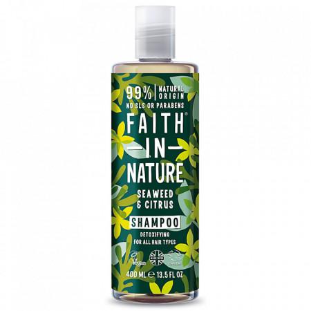 Sampon natural detoxifiant cu alge marine si citrice, pentru toate tipurile de par, 400 ml