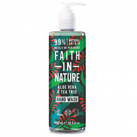 Sapun lichid natural cu Aloe Vera si ulei de tea tree, Faith in Nature, 400 ml