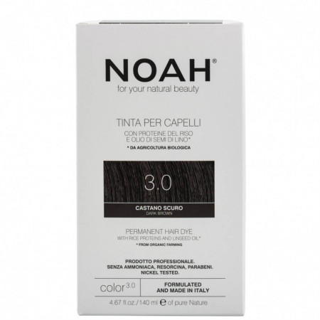 Vopsea de par naturala, Saten inchis, 3.0, Noah, 140 ml